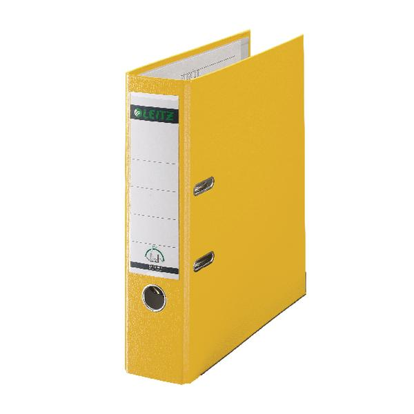 Leitz 180 Lever Arch File Poly 80mm A4 Yellow (Pack of 10) 10101015