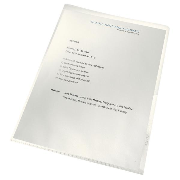 Leitz Recycled Cut Flush Folders A4 Clear (Pack of 100) 40011003