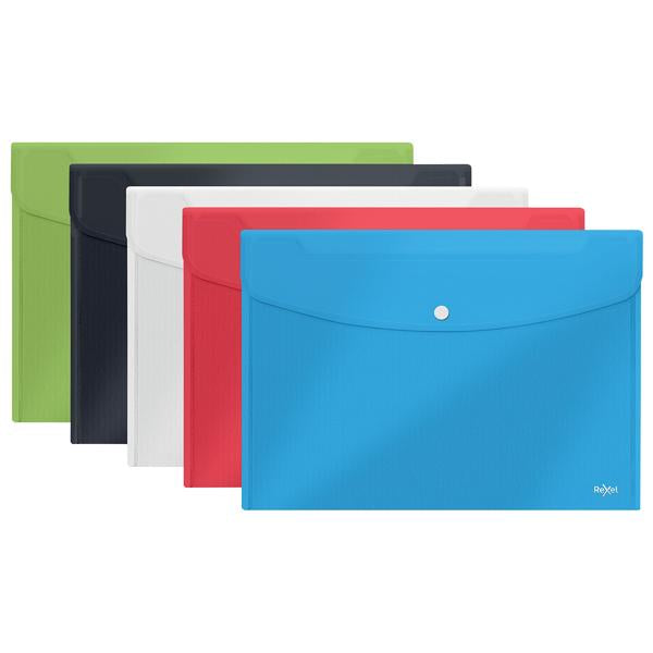 Rexel Choices Popper Wallet A4 Foolscap Assorted (Pack of 5) 2115672