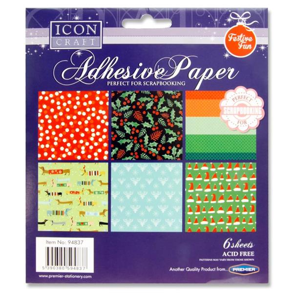 Icon Craft Pack of 6 Adhesive Paper - Festive Fun