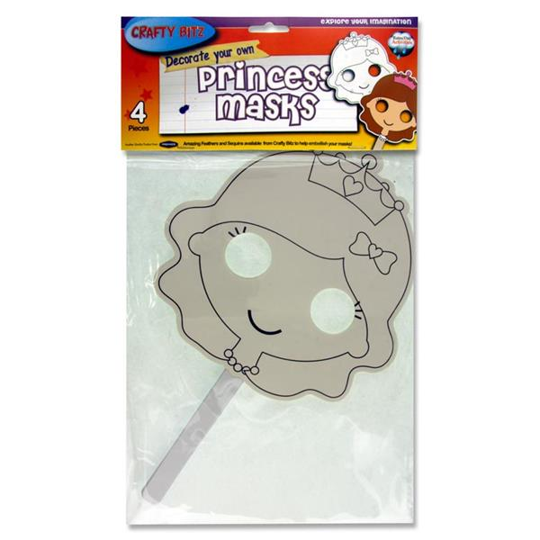 Crafty Bitz Pack of 4 Decorate Your Own Masks - Princess