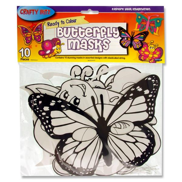 Crafty Bitz Pk 10 Ready To Colour Butterfly Masks