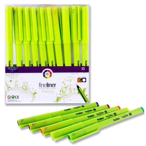 Pro:Scribe Pack of 10 Roundgrip Fineliner Pens - Coloured