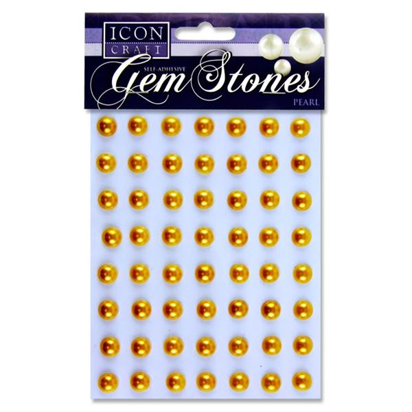 Icon Craft Pack of 56 Self Adhesive Gem Stones 10Mm - Pearl Gold
