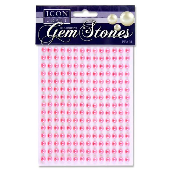 Icon Craft Pack of 210 Self Adhesive Gem Stones 6Mm - Pearl Pink