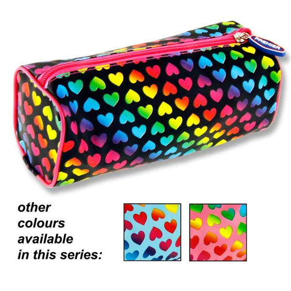 Premier Round Pencil Case - Hearts 2 Assorted