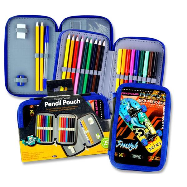 Student Solutions Double Decker 25Pce Filled Pencil Pouch - Skateboard