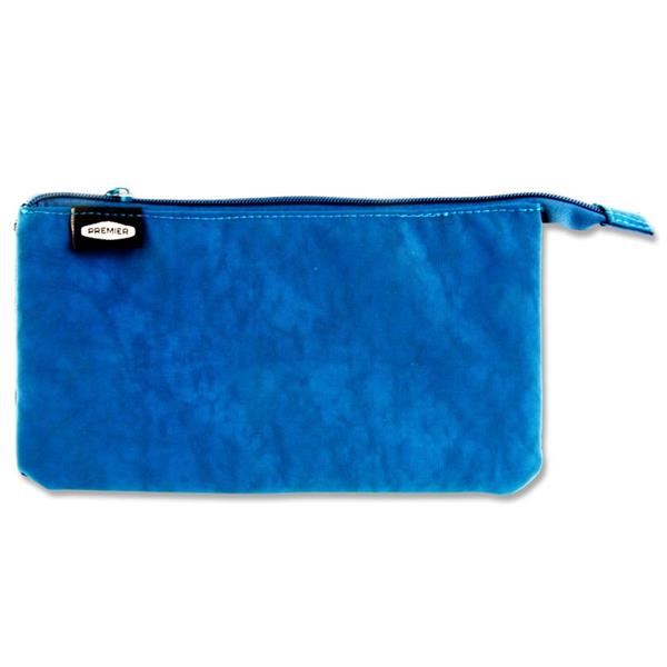 Premier 3 Pocket Flat Pencil Case - Blue