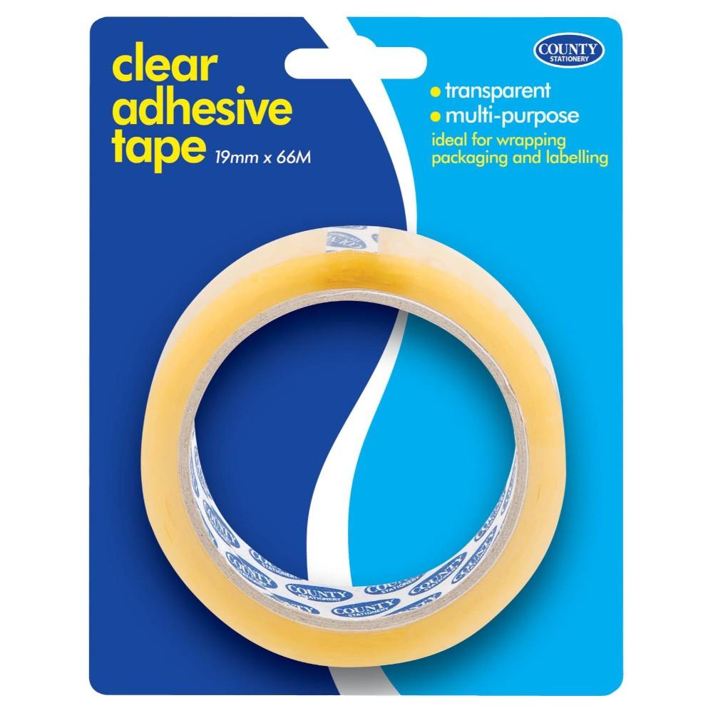 Pack of 6 Clear Adhesive Tape 19mm x 66M