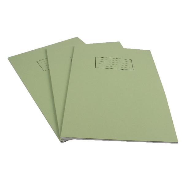 Pack of 100 A4 Green Exercise Books 80 Pages - Feint Ruled with Margin