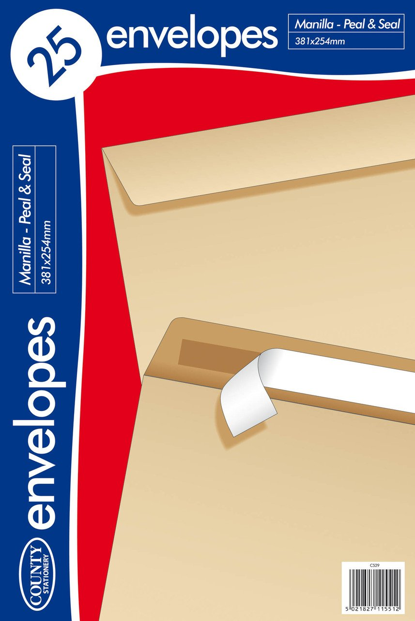 Pack of 25 381x254mm Peel & Seal Manilla Envelopes