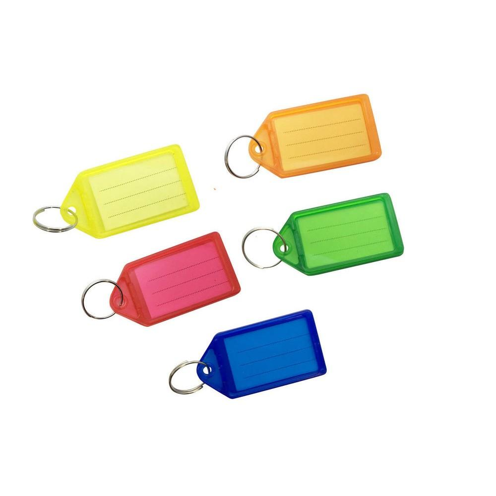 Pack of 50 Large Assorted Coloured Identity Tag Key Rings - Sliding Fob Keyrings