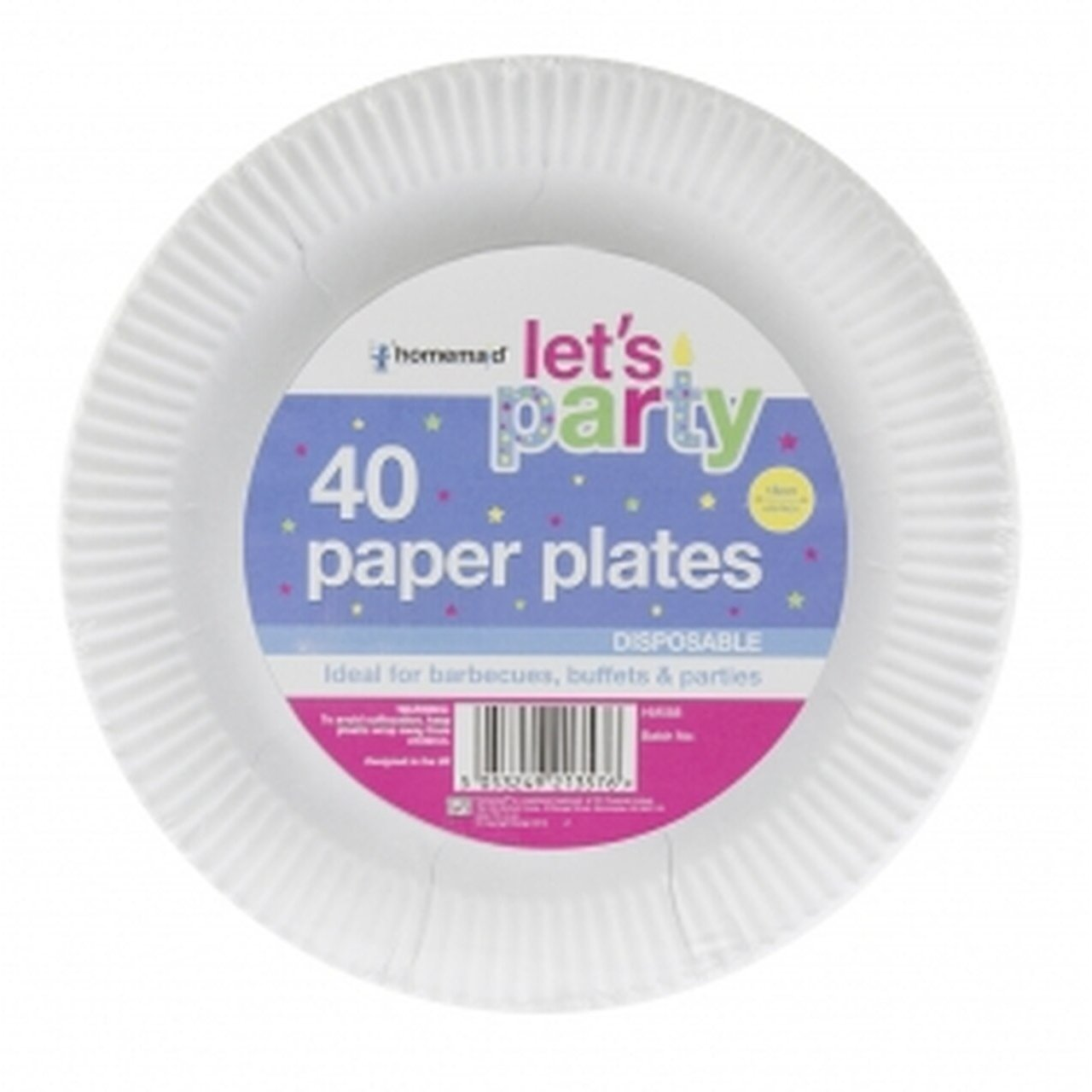 Pack of 40 White Paper Plates 18cm