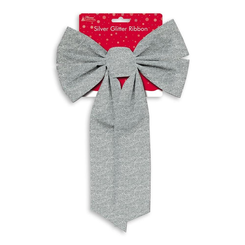 Large Silver Glitter Christmas Ribbon Bow