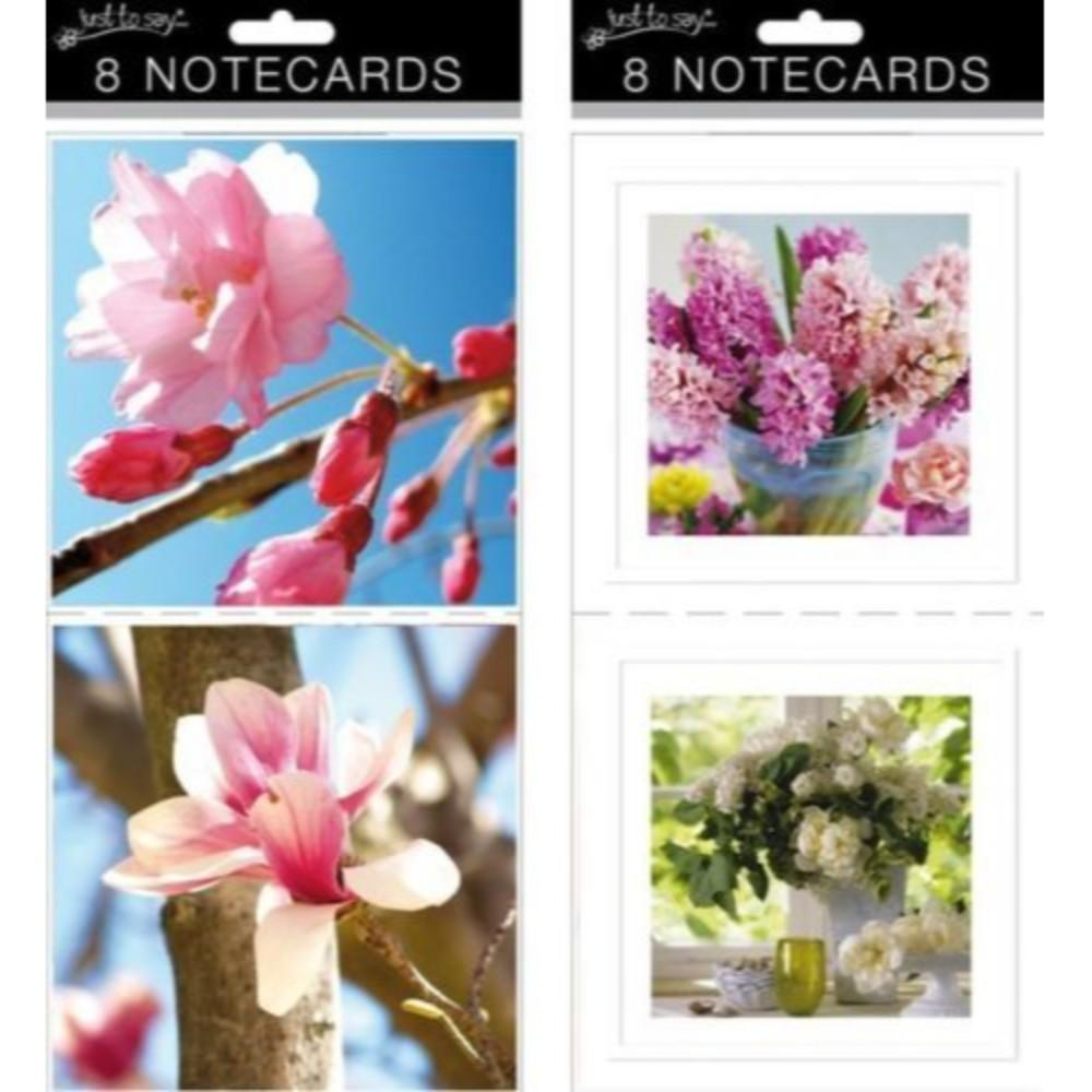 Box of 8 Just To Say Large Floral Square Note Card