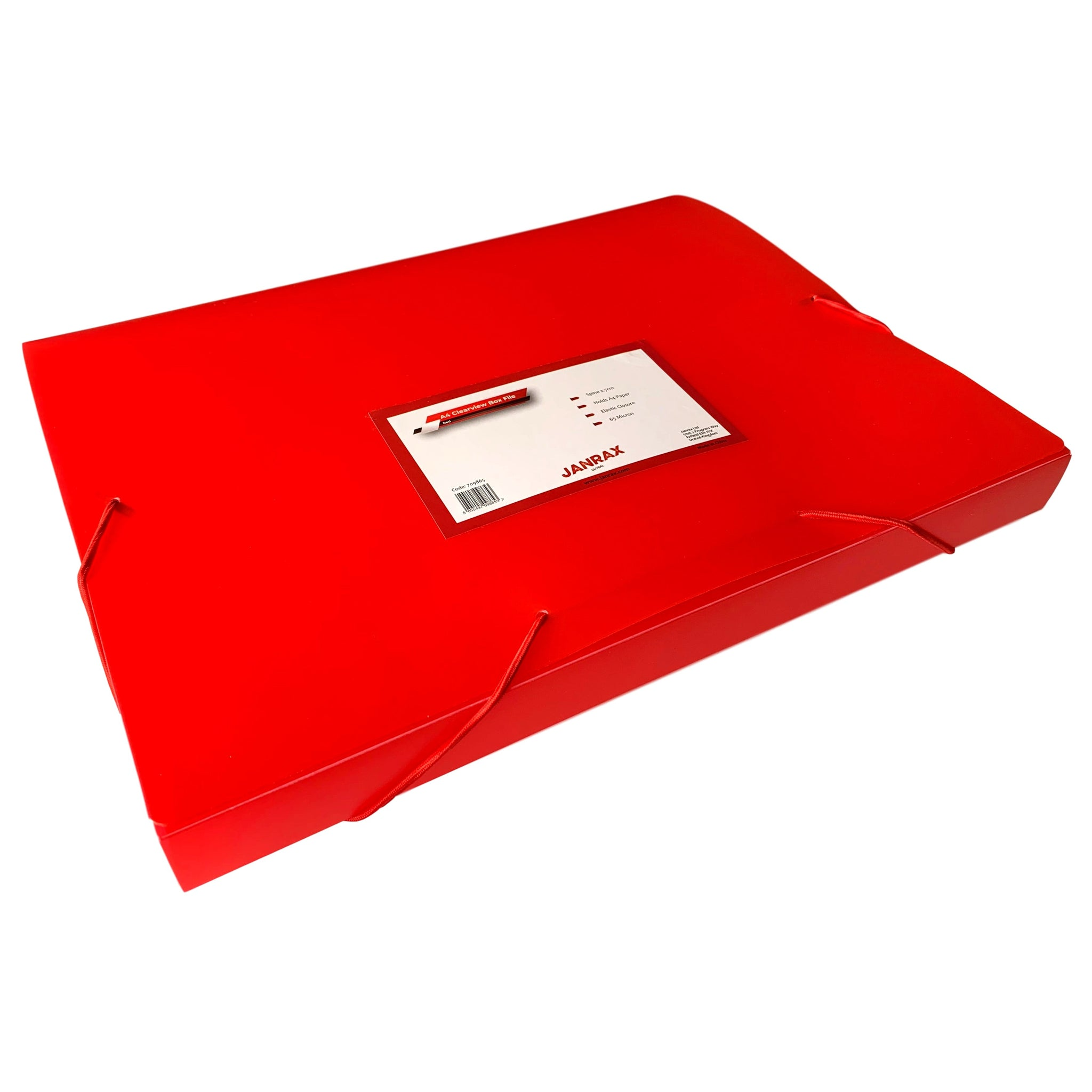 A4 Clearview Red Box File with Elastic Closure