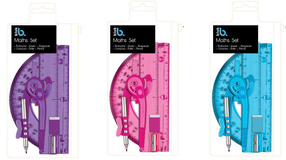 Blok Maths Sationery Set In Clear Case - Assorted Colours