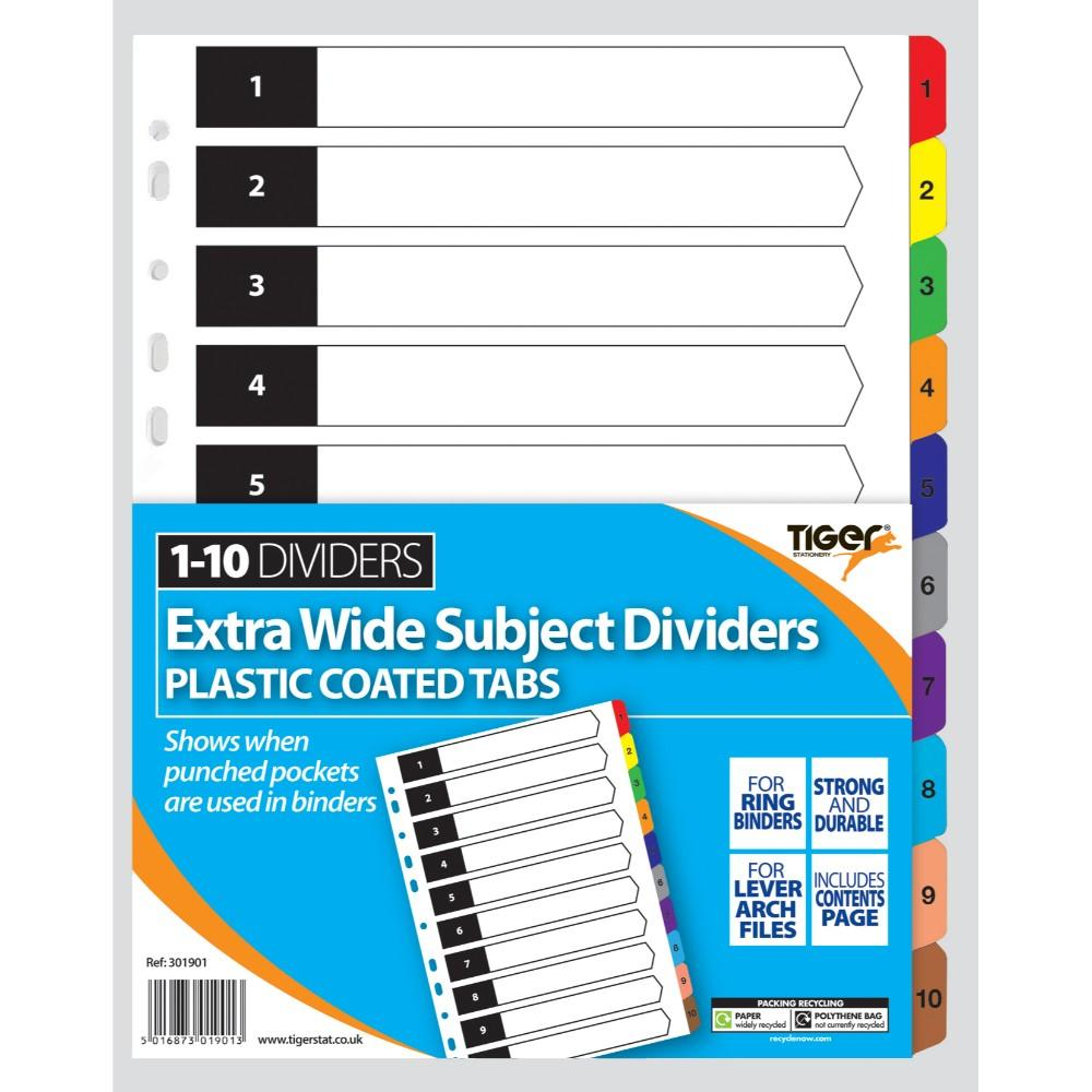 A4 1-10 Extrawide Card Tabbed Divider
