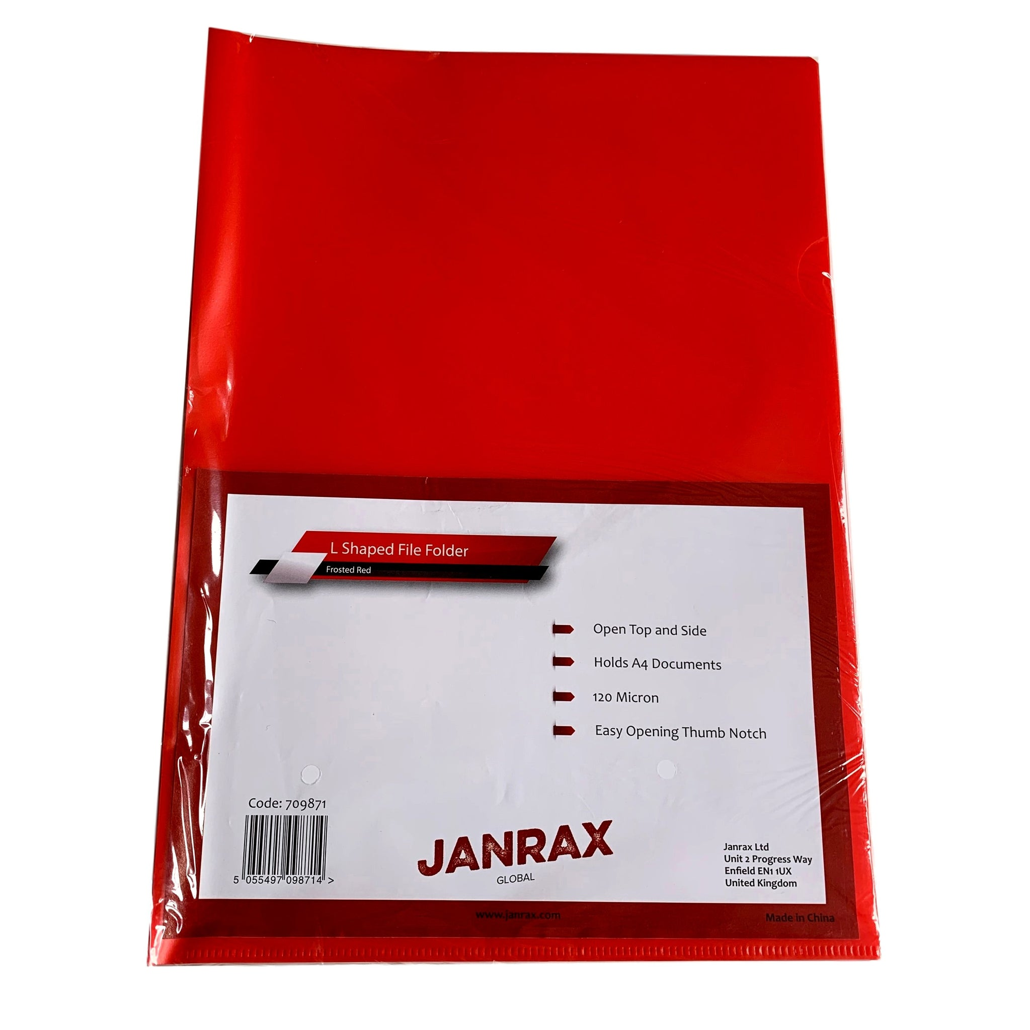 Pack of 25 A4 Red L Shaped Open Top and Side Report File Folders