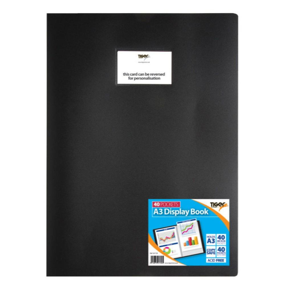A3 FlexiCover 40 pocket Display Book (Black)