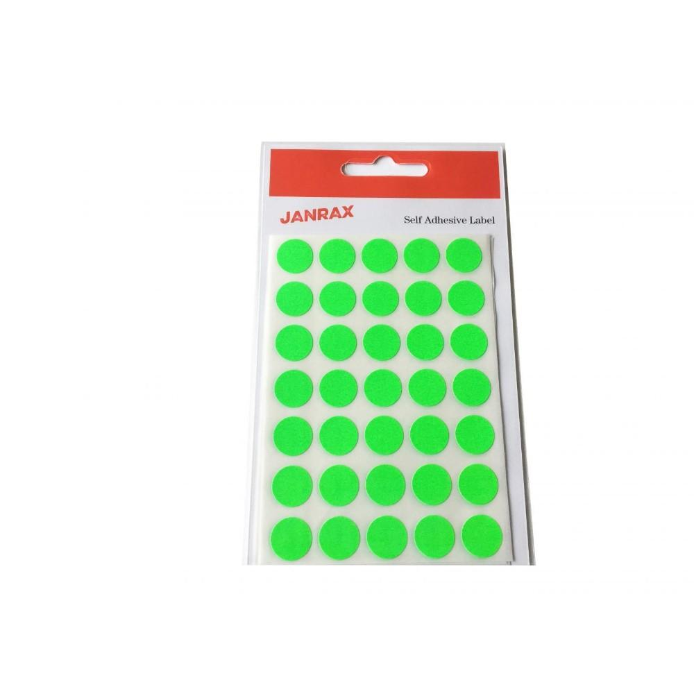 Pack of 140 Fluorescent Green 13mm Round Labels - Stickers
