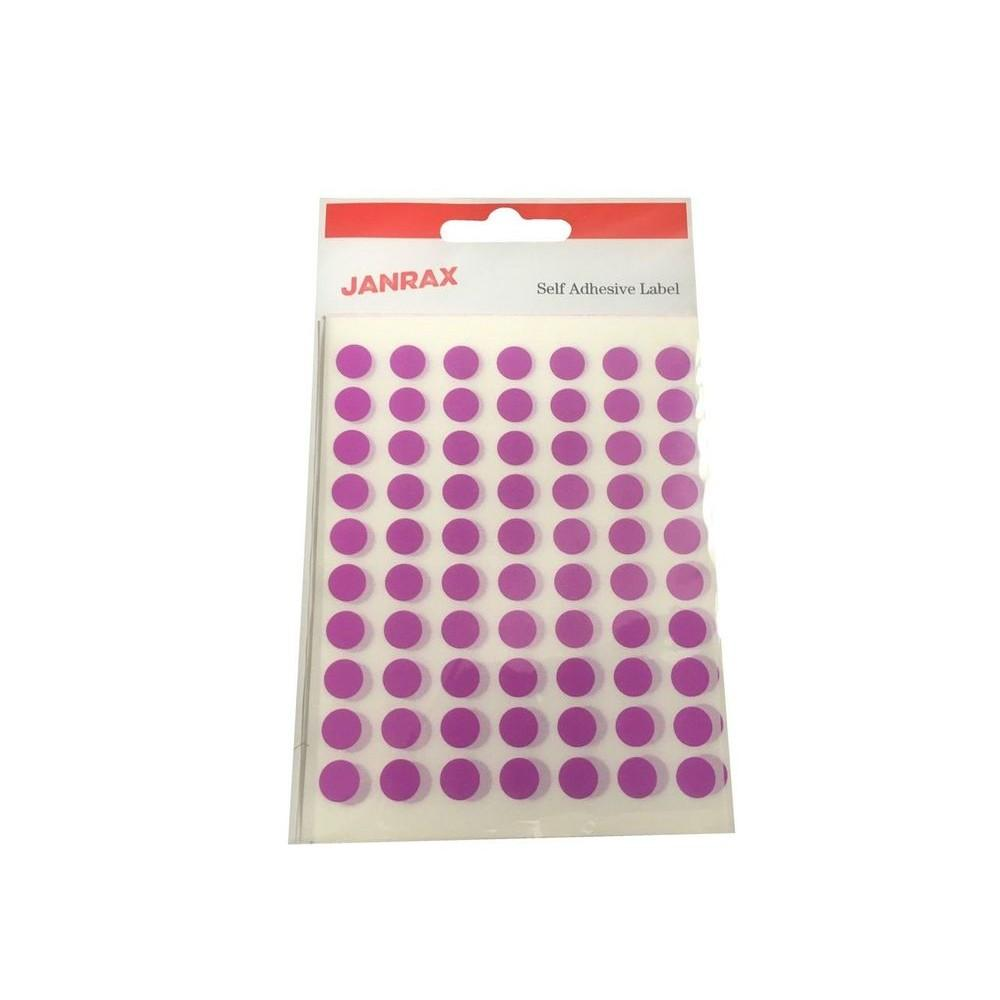 Pack of 560 Purple 8mm Round Labels - Stickers