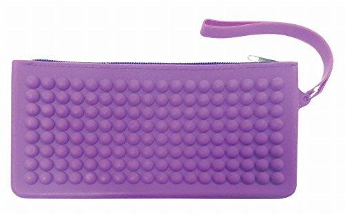 Purple Raised Dot Silicon Pencil Case