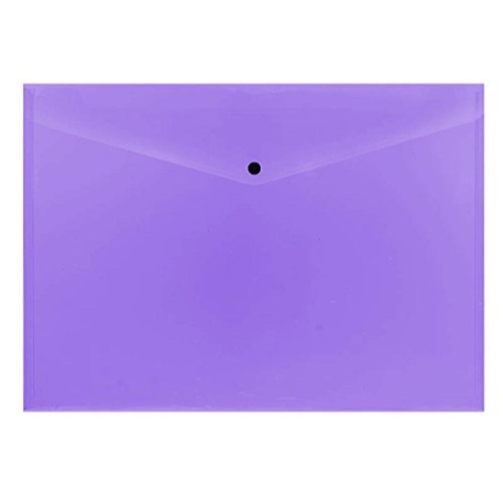 Pack of 12 Janrax A3 Purple Document Wallets - Button Stud Folder