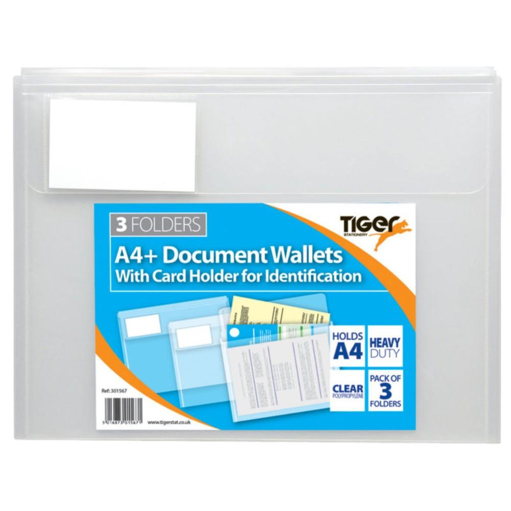 Pack 3 A4+ Document Wallets