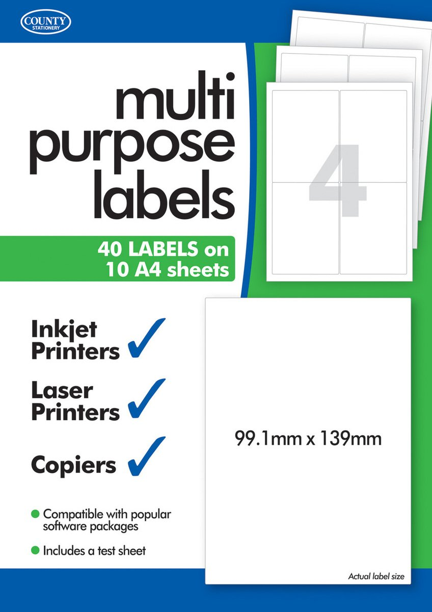 10 Sheets of Multipurpose Printer Labels Four/4 Per Sheet