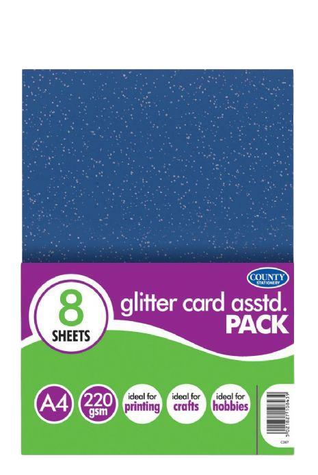 4 A4 Assorted Glitter Card Pack