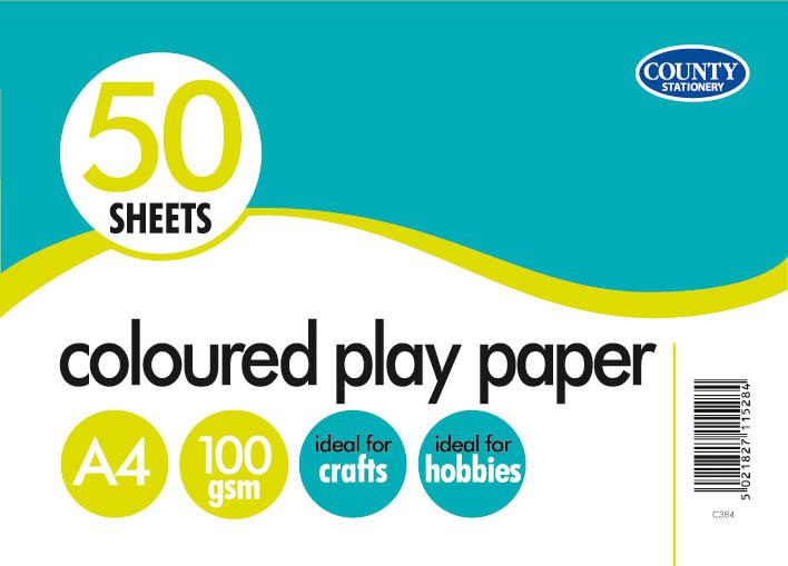 50 Coloured Play Paper 100gsm