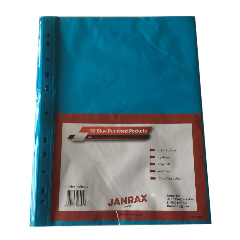 Pack of 50 A4 Blue Punched Pockets by Janrax