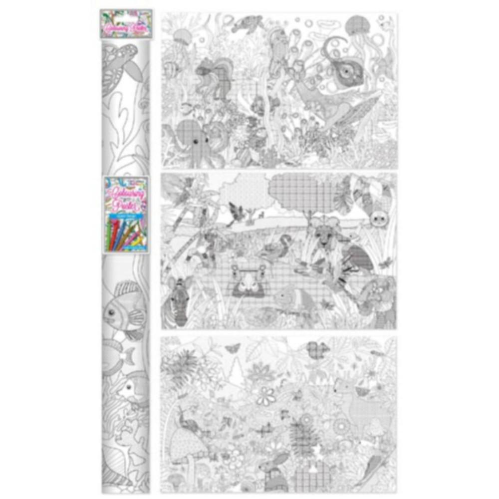 Colour Therapy Large 880 x 580 mm Adult Design Poster and 6 Colouring Pencil