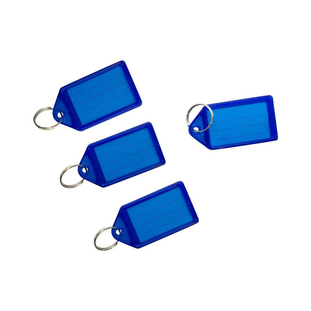 Pack of 50 Large Blue Identity Tag Key Rings - Sliding Fob Keyrings Coloured