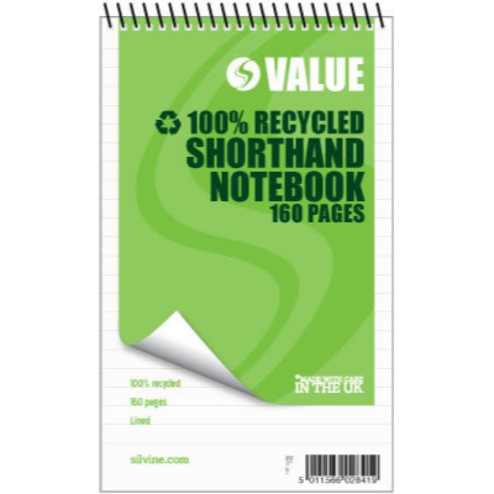 "160 recycled pages 5x8"" Value Shorthand Spiral Notepad"