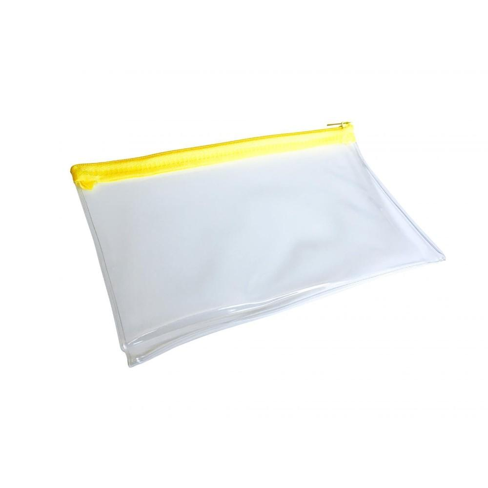 "Janrax 8x5"" Yellow Zip Clear Exam Pencil Case"