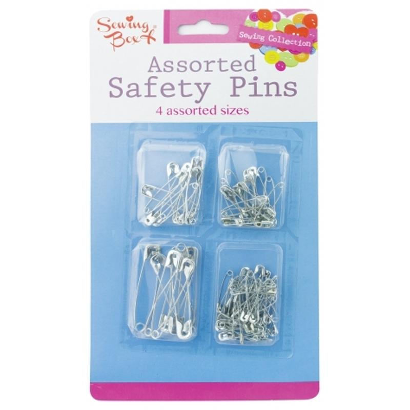 100 Pack Assorted Size Silver Safety Pins