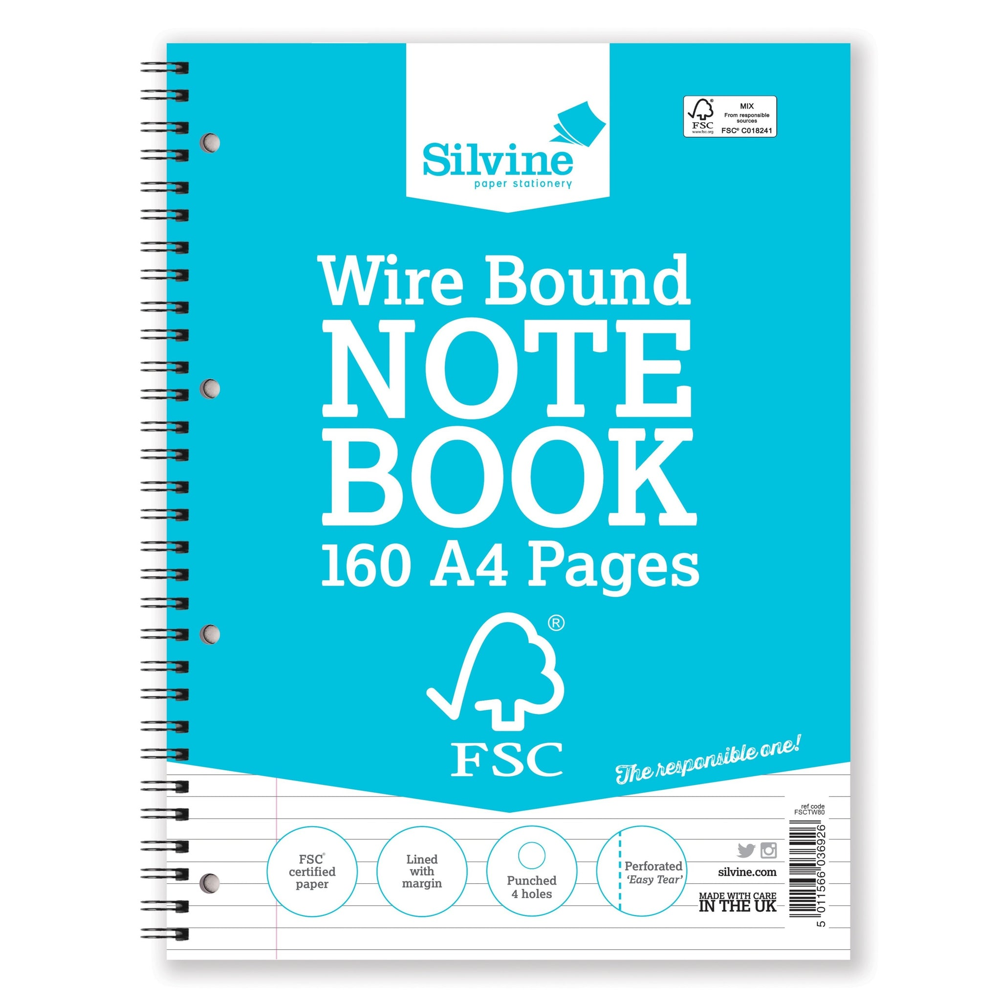 A4 FSC Certified Wirebound Notebook 160 Pages