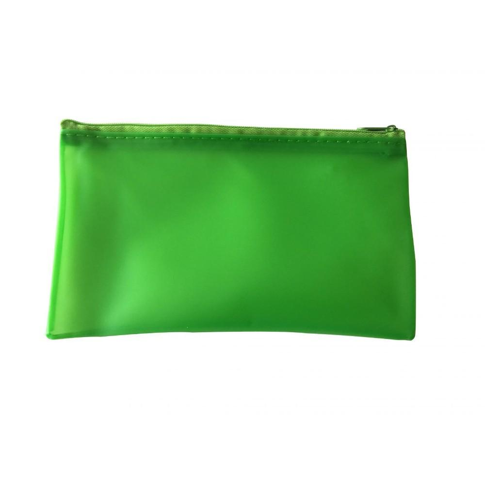 "8x5"" Frosted Green Pencil Case - See Through Exam Clear Translucent"