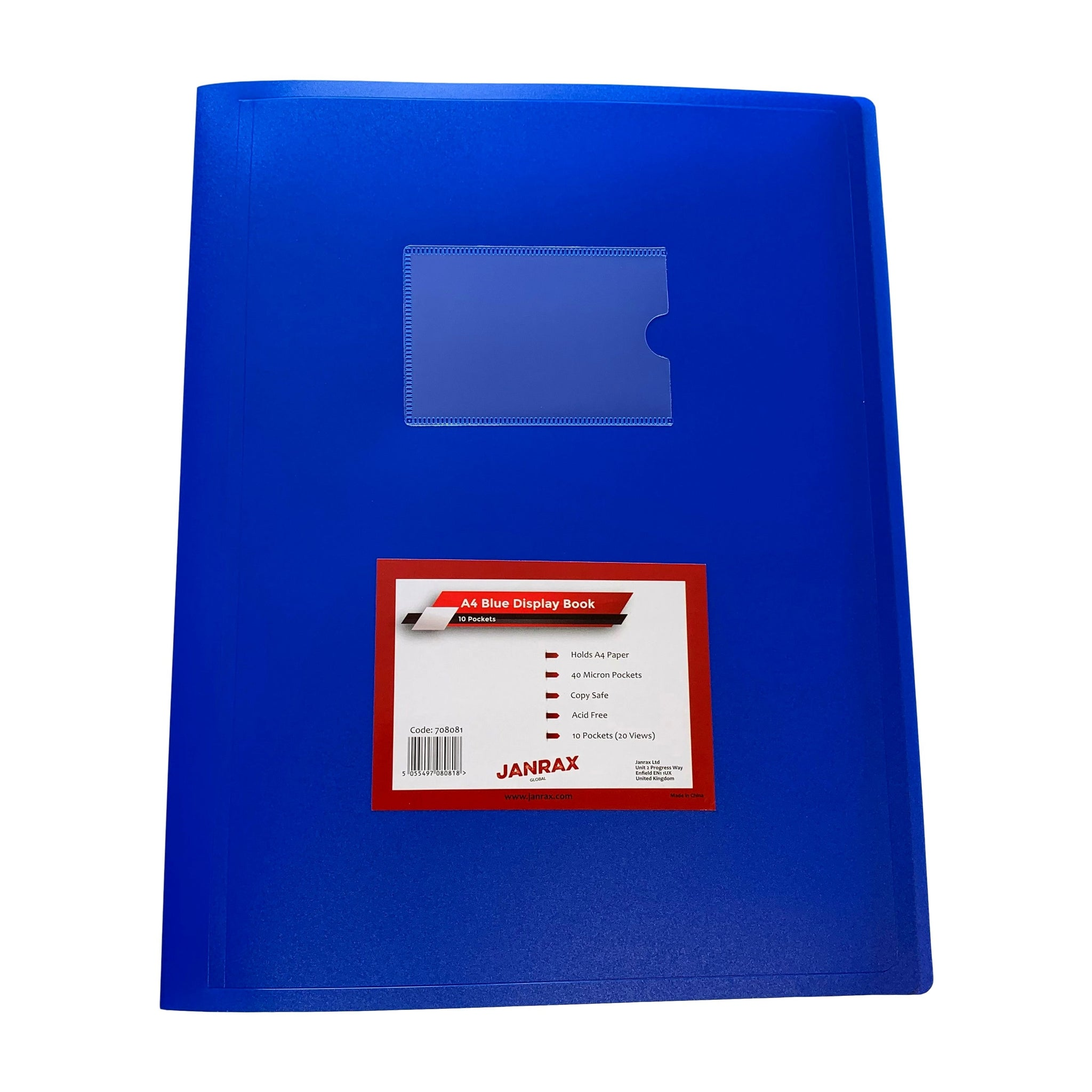 A4 Blue Flexible Cover 10 Pocket Display Book