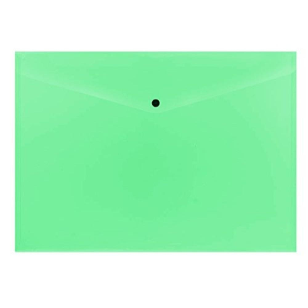 Pack of 12 Janrax A3 Green Document Wallets - Button Stud Folder