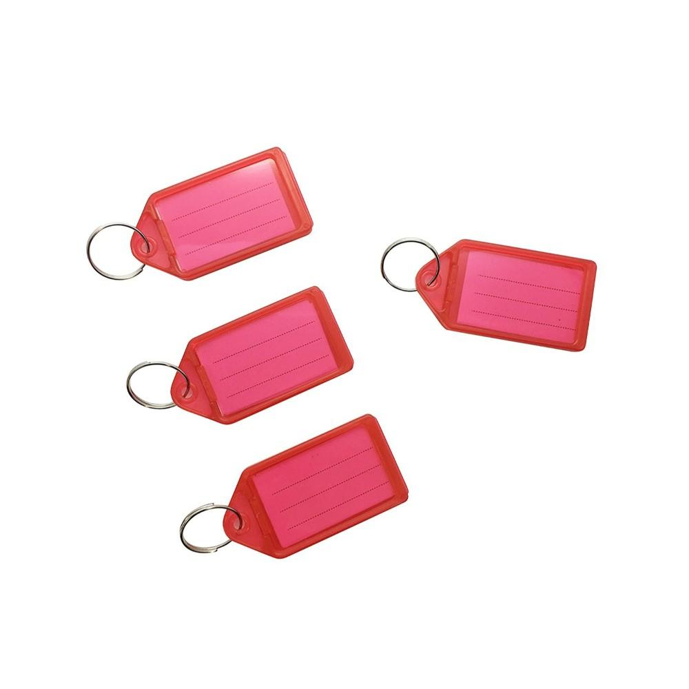Pack of 50 Large Red Identity Tag Key Rings - Sliding Fob Keyrings Coloured