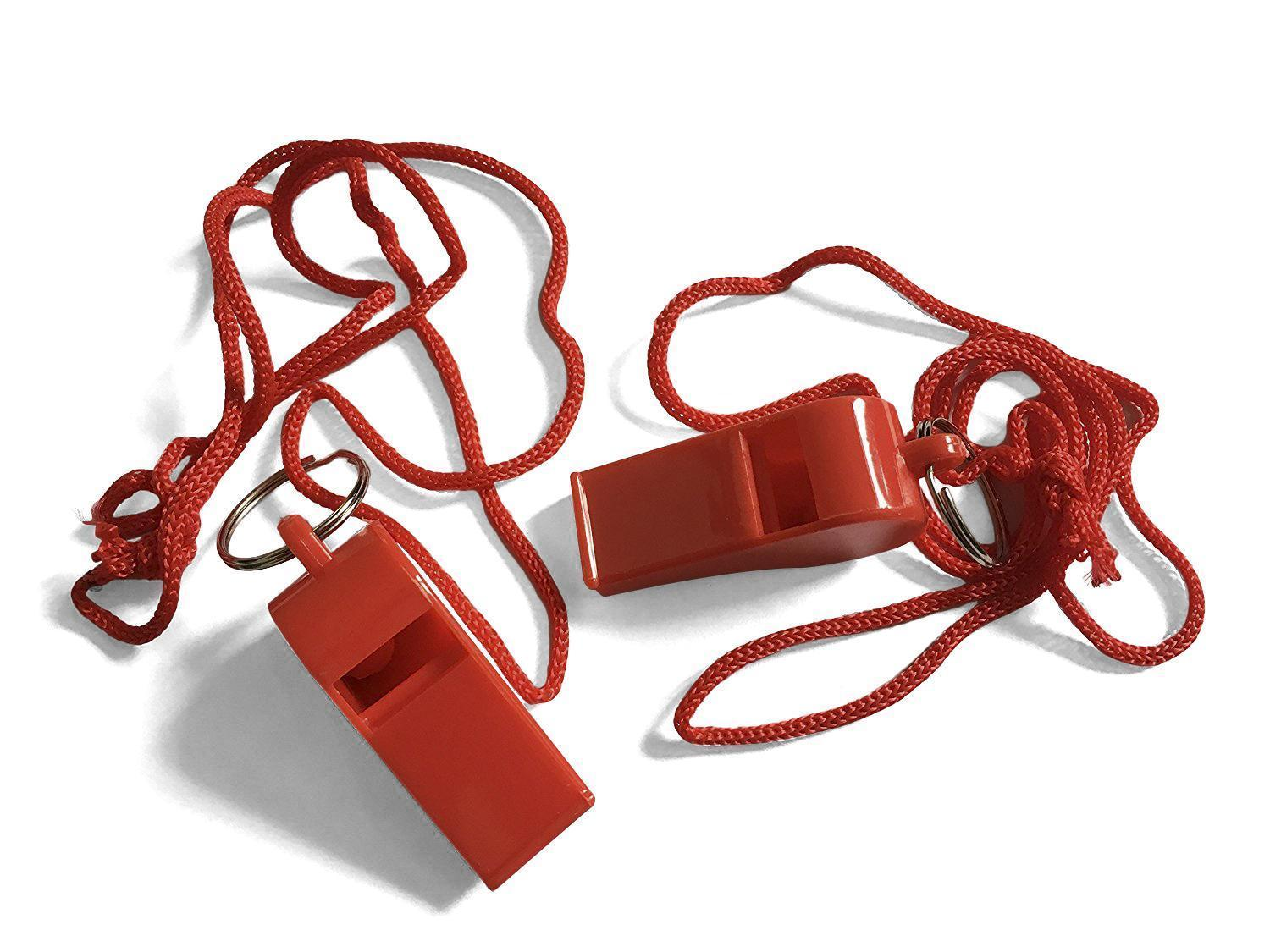 Bag of 100 Red Plastic Whistles with Lanyard Neck Cord