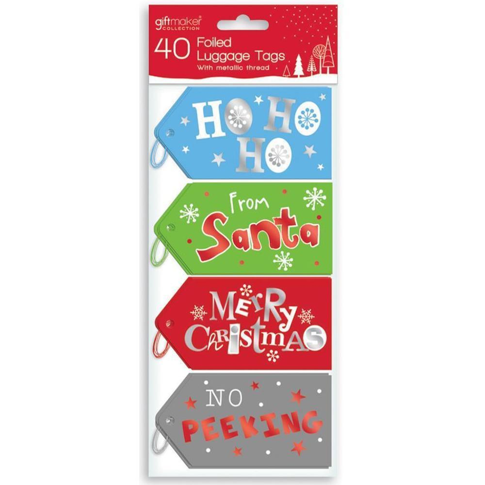 Pack of 40 Foiled Luggage Christmas Tags with Metallic Thread