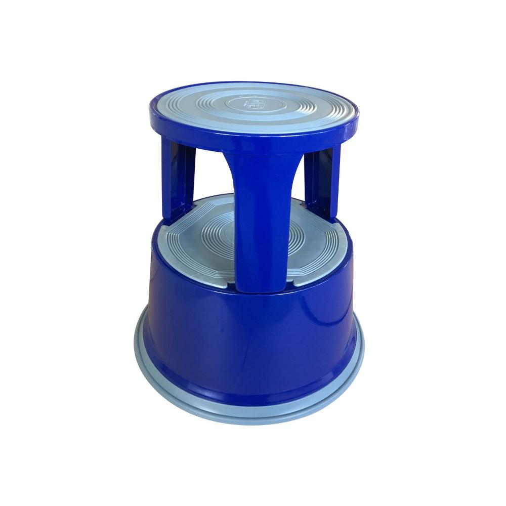Janrax Blue Metal Premium Rolling Kick Step Stool