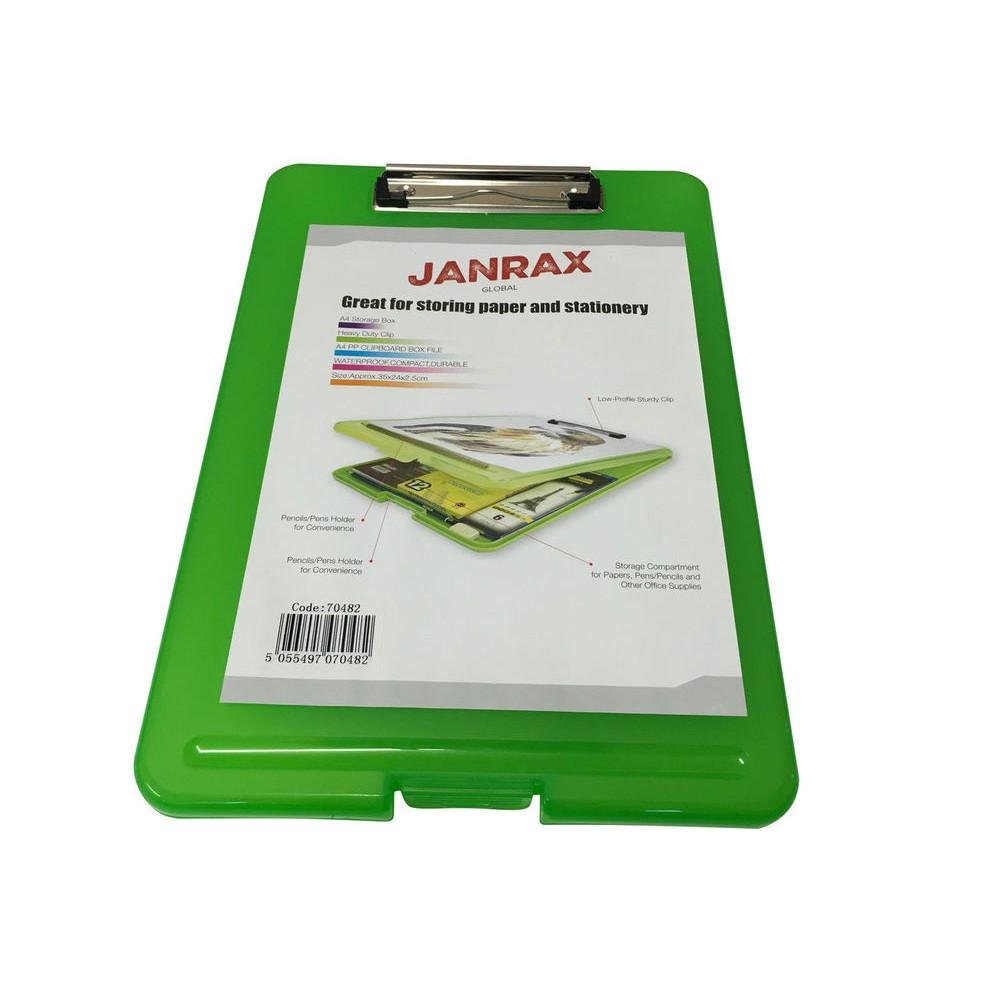 A4 Green Clipboard Box File - Storage Filing Case