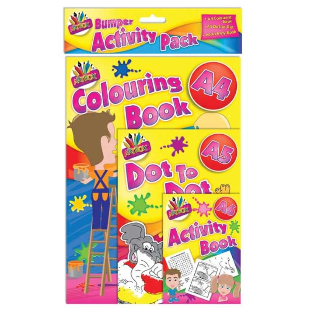 Multi Activity Set of 3 Books Children's Travel Colouring Set
