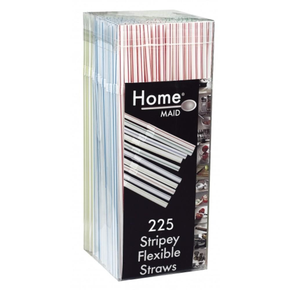 Pack of 225 Stripey Flexible Straws