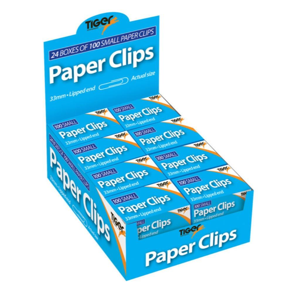 24 Boxes of 100 Pack Paper Clips 33mm